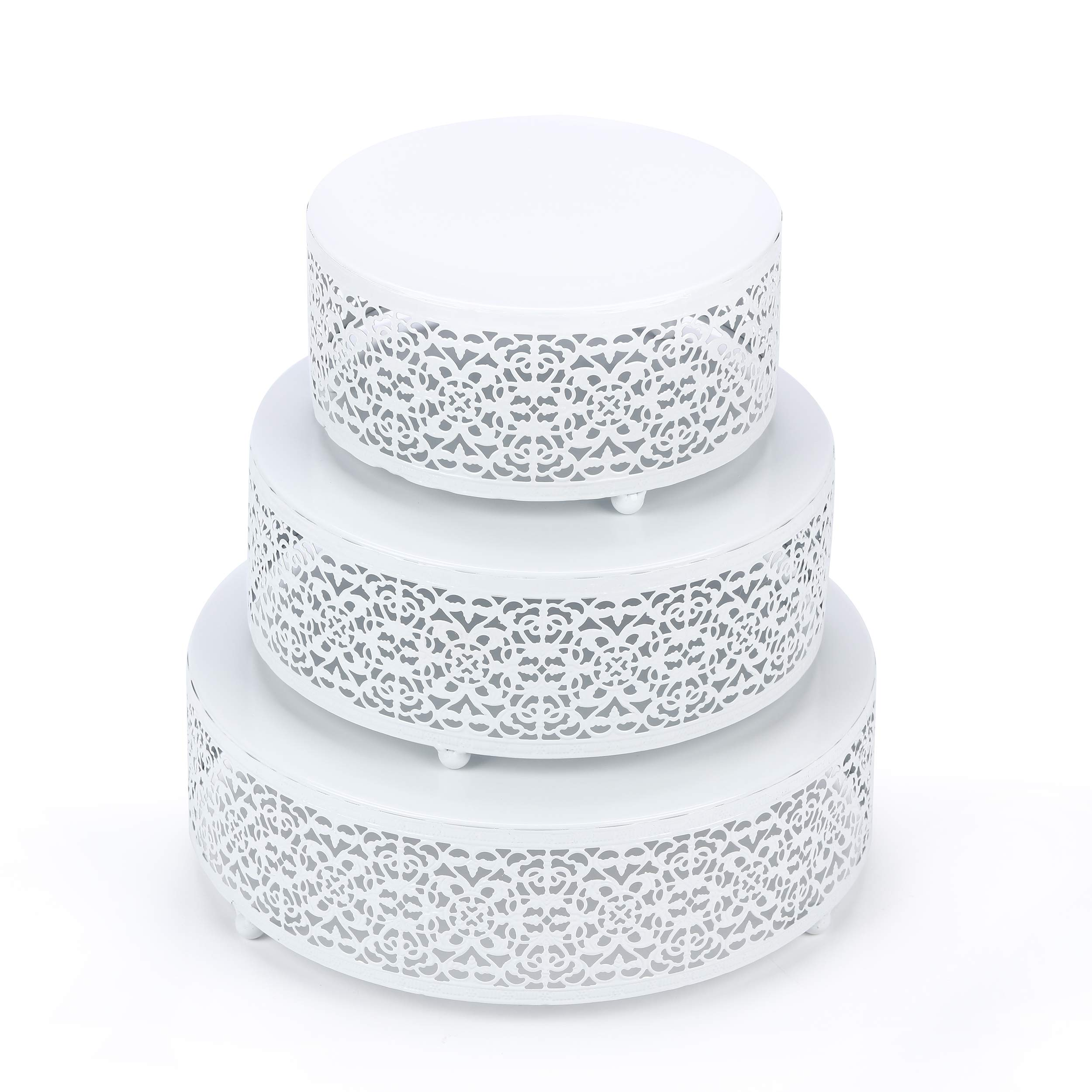 Hotity 3-Piece Cake Stand Set Round Metal Cake Stands Dessert Display Cupcake Stands with Simple Design, White