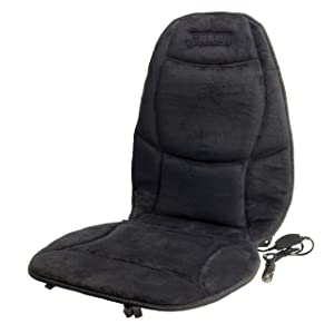 HealthMate IN9438 Velour 12V Heated Seat Cushion with Lumbar Support, Heating with Easy Controller, Color Gray, Products by Wagan