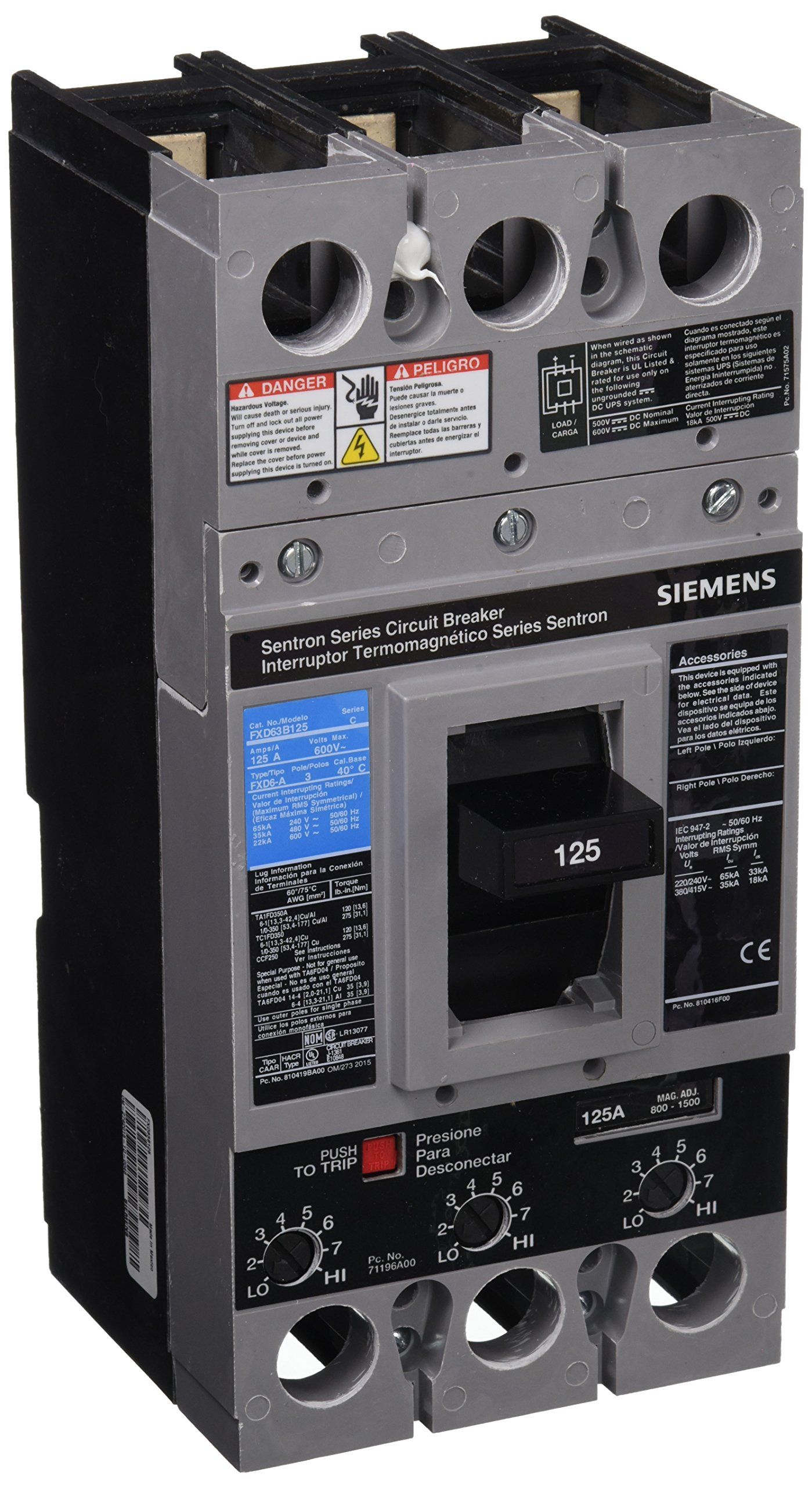 Siemens FXD63B125 125 Amp Type FXD6-A Circuit Breaker