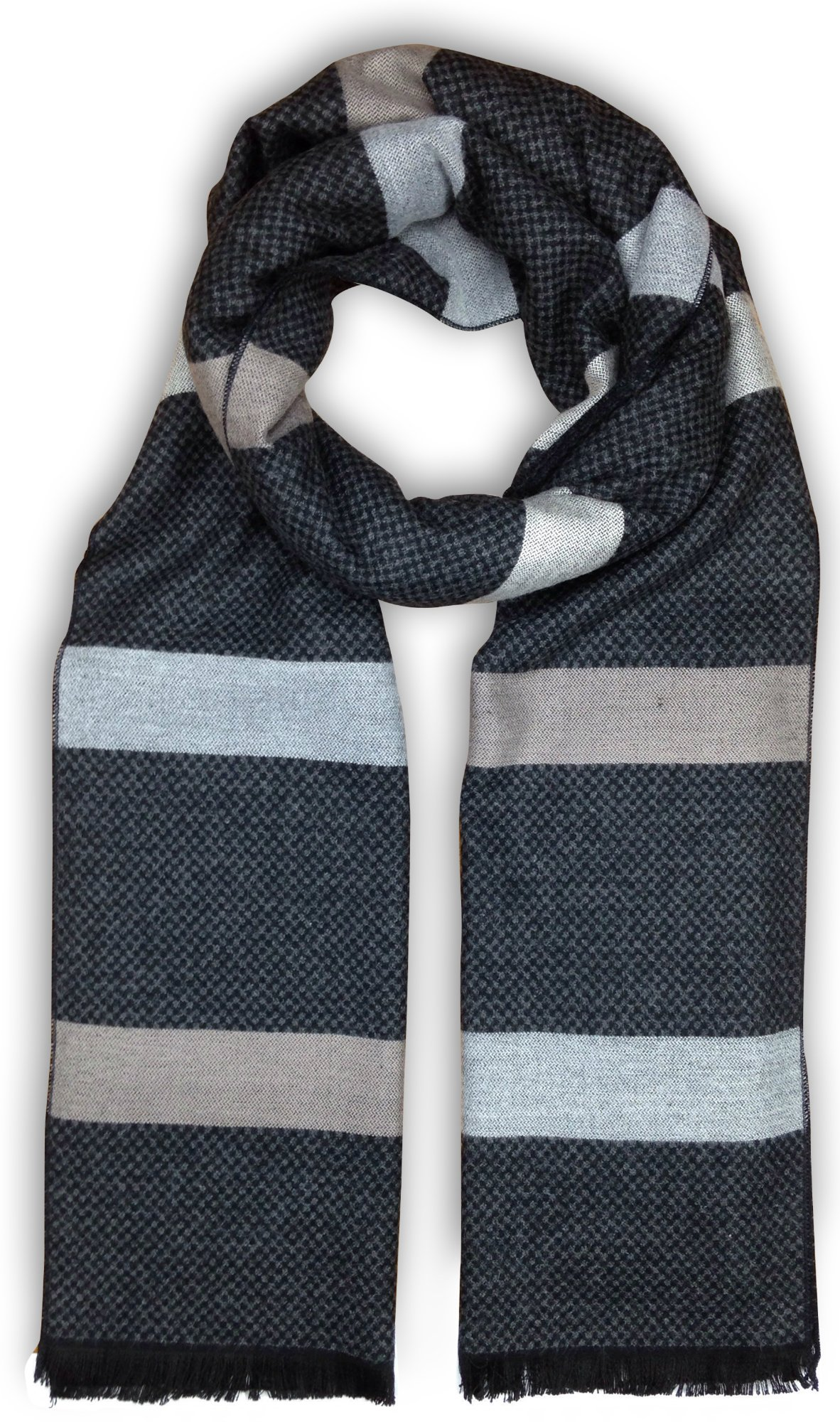 Bleu Nero Luxurious Winter Scarf for Men and Women – Large Selection of Unique Design Scarves – Super Soft Premium Cashmere Feel Black Grey Checked Taupe-Grey Stripes