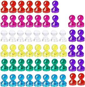 HyAdierTech Push Pin Imanes, Imanes De Nevera, 56 Piezas, 7 Color Fuerte Magnético Chinchetas, Magnetic Push Pins Imanes para Pizarra, Nevera, Mapa y Calendario (B): Amazon.es: Hogar