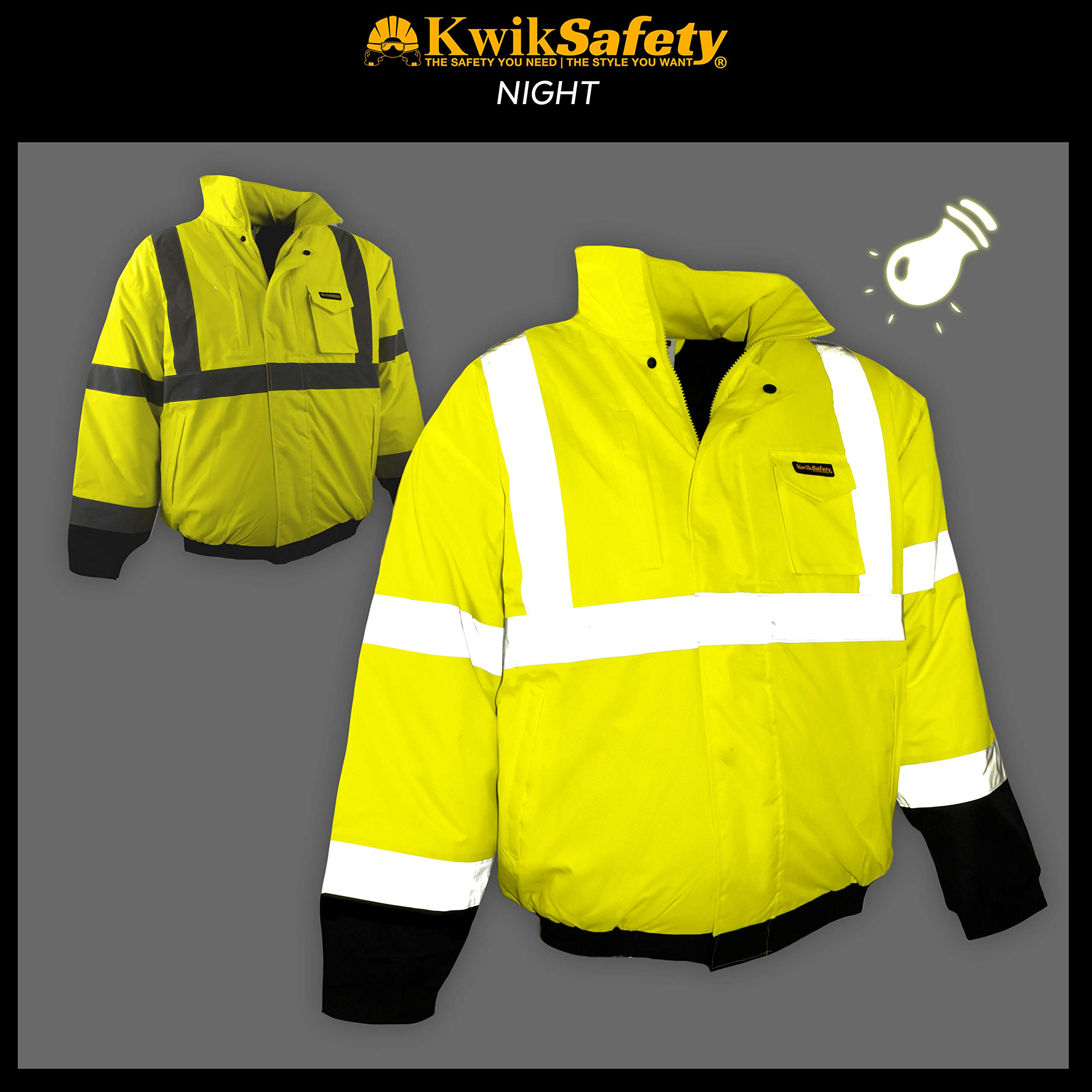 KwikSafety (Charlotte, NC) GUARD   Class 3 Black Cuff Safety Bomber Jacket   High Visibility ANSI OSHA PPE   Foldable Hood Reflective Winter Water Resistant Construction Workwear Men   X-Large by KwikSafety (Image #3)