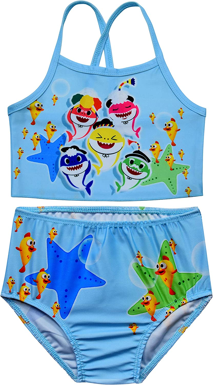Heariao Cartoon Baby Shark Princess Girls 2 Piece Swimsuits Bikini Sets Beach Sport Bathing Suits Swimwear Size 2-8 Years
