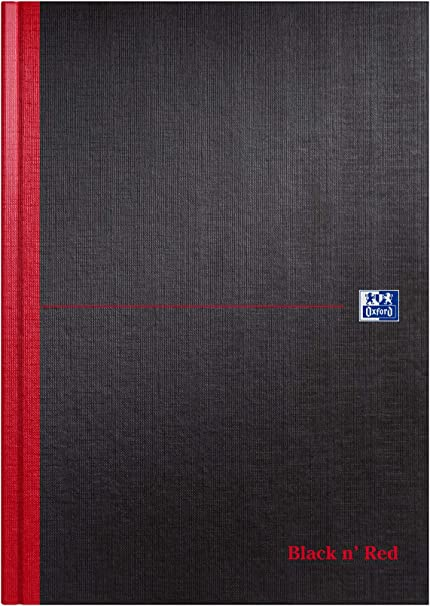 96 Page Narrow Ruled with Margin Oxford Black n Red A4 Hardback Casebound Notebook 1 Notebook