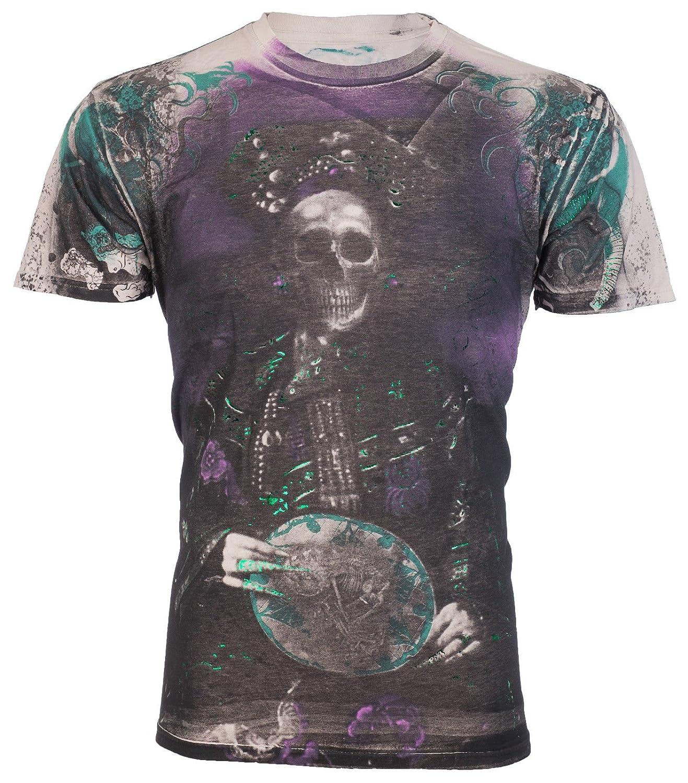 Affliction/ Men T-Shirt Dragon Queen Royalty Series Skull Biker MMA UFC Jeans