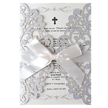 amazon com hosmsua 20x laser cut lace flora wedding invitation