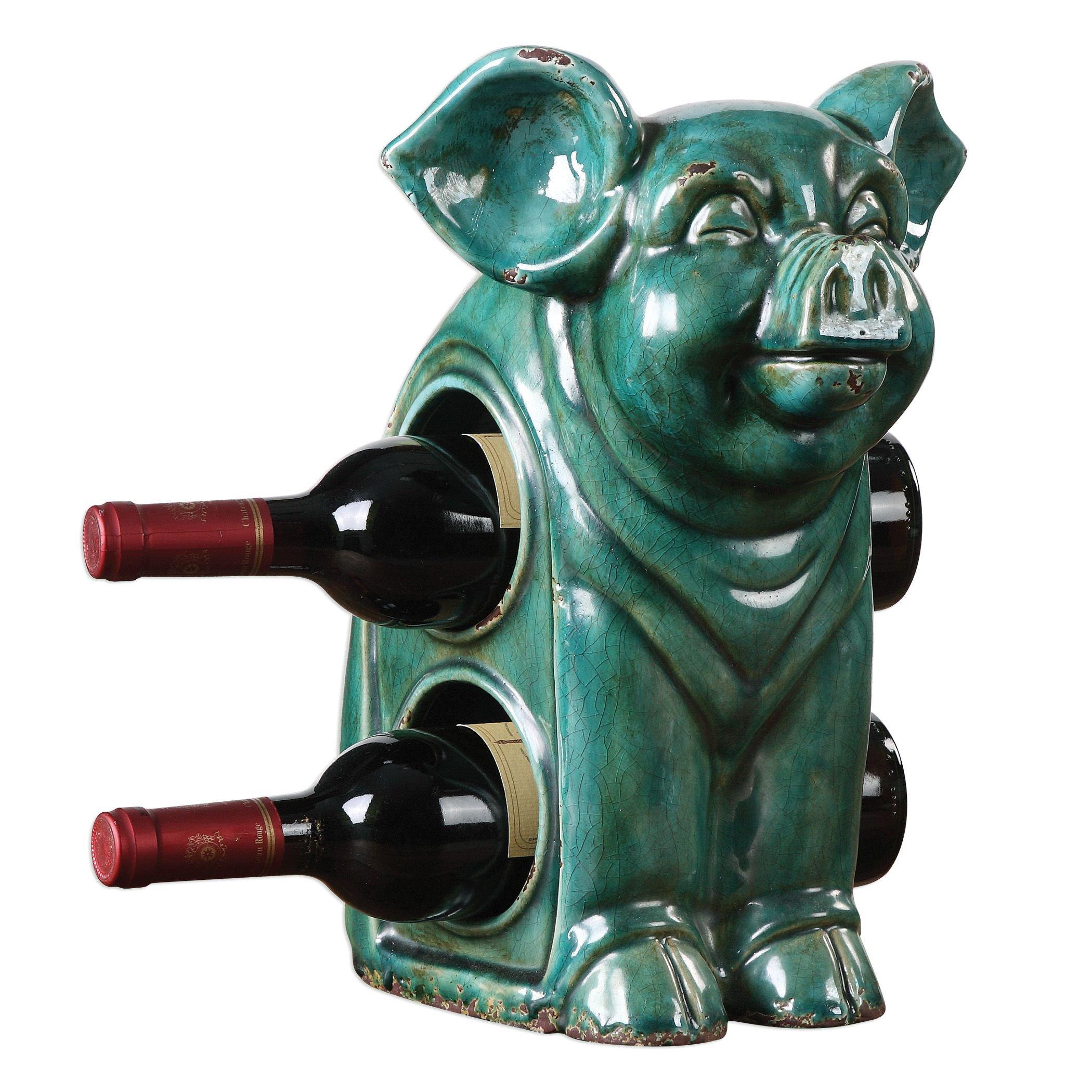 Turquoise Blue Green Ceramic Pig Wine Holder | Bottle Rack Tabletop