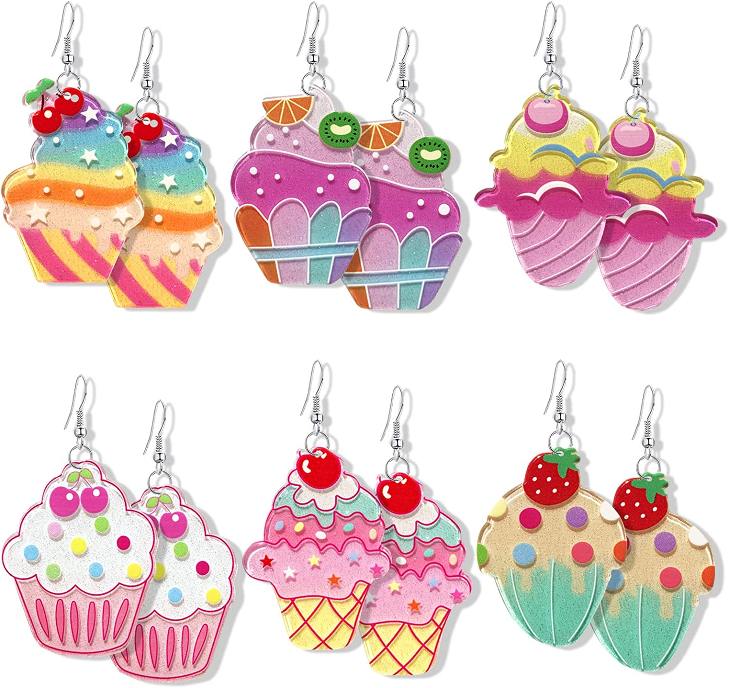DAMLENG 6 Pairs Creative Handmade Simulation Food Colorful Rainbow Ice Cream Dangle Drop Earrings Unique Kawaii Candy Fruits Earrings Set for Women Girls Jewelry