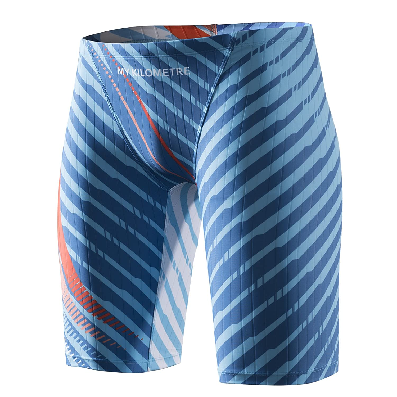 MY KILOMETRE Men's Swim Jammers Quick Dry Swimsuit Chlorine Resistant Compression Racing Swimsuit Swim-01