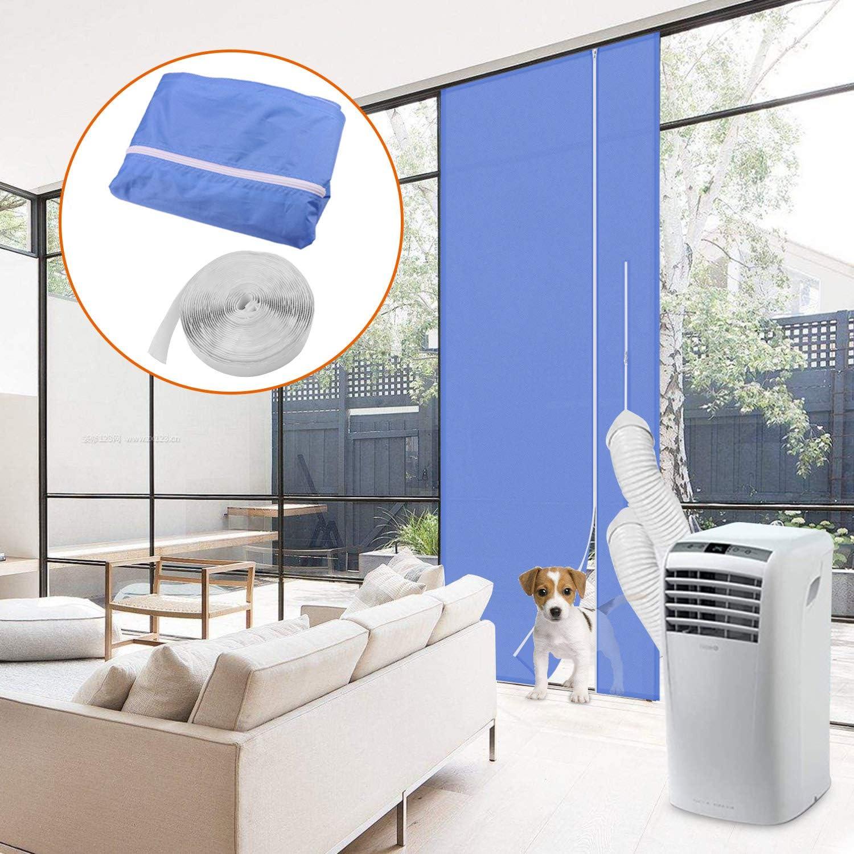 Minterest Kit Ventana Aire Acondicionado Portatil, Aire Acondicionado Azul de 210x90 CM Secadora de Ventanas Protectores de Intercambio de Aire Con Cierre Adhesivo para Puerta Corrediza de Vidrio