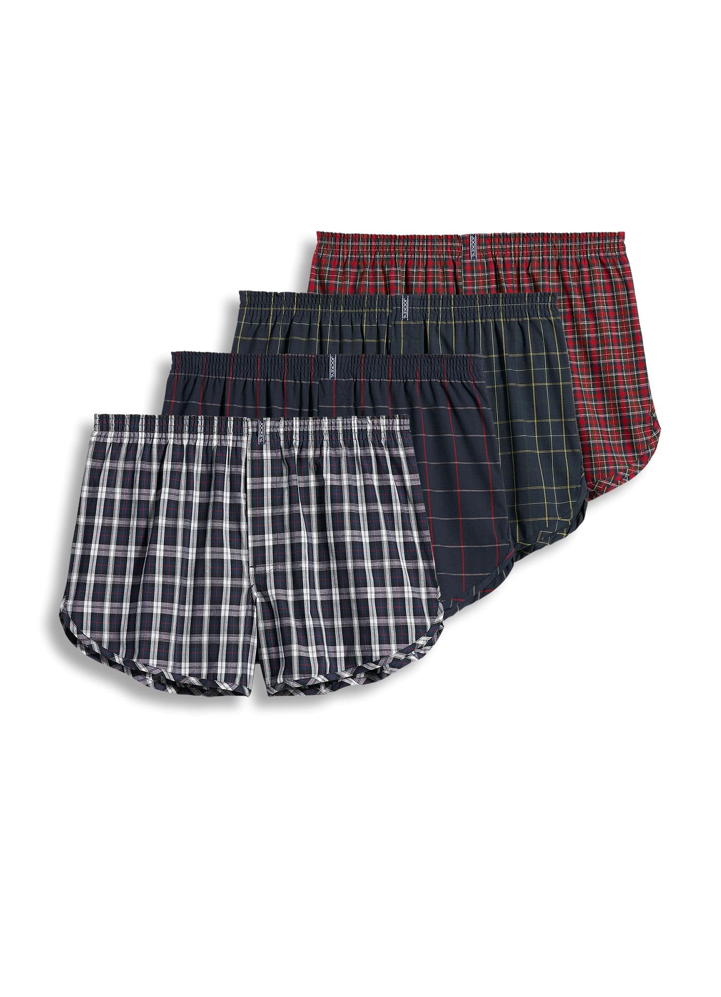 Jockey Men's Underwear Tapered Boxer - 4 Pack, Tartans, L by Jockey