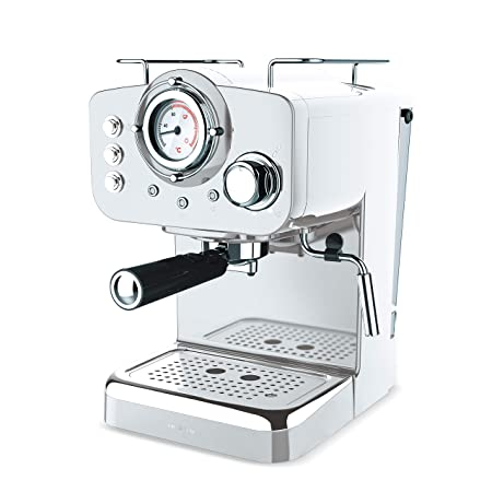 IKOHS THERA Retro - Cafetera Express para Espresso y Cappucino, 1100W, 15 Bares, Vaporizador Orientable, Capacidad 1.25l, Café Molido y Monodosis, con ...