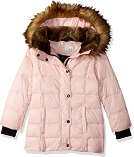 S13 Womens Kelly Hip Length Down Puffer with Faux Fur Hood S18268NDF