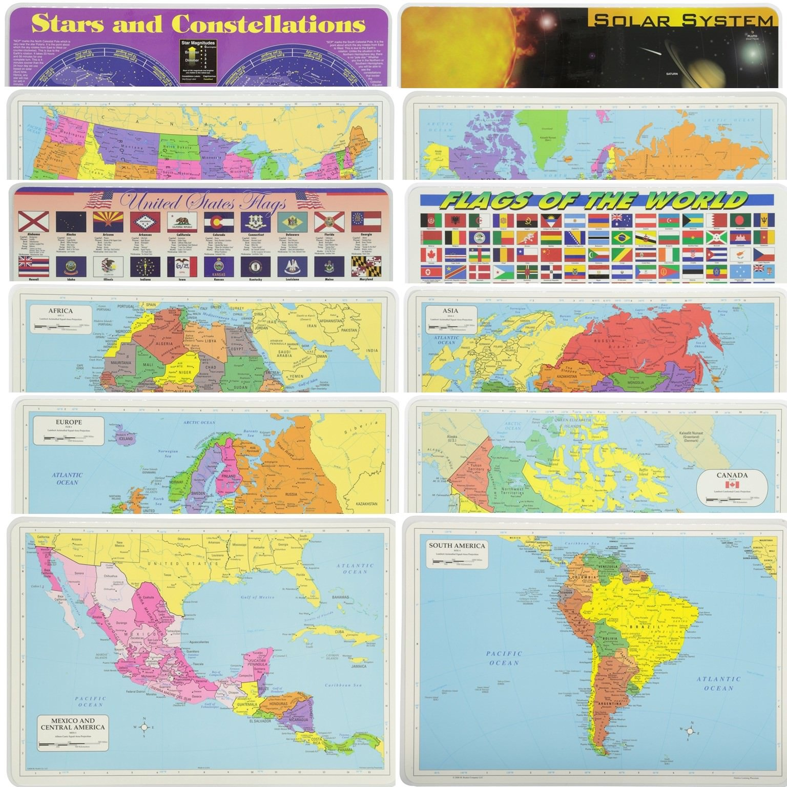 Painless Learning Educational Placematsfor Kids USA and World Map, Africa, Asia, Europe, Canada, South Amaerica, Central America Maps, States Flags, World Flags, Stars and Solar System 12 Pack