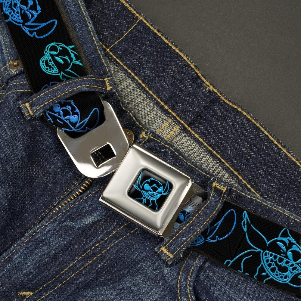 1.5 Wide Electric Stitch Poses Black//Neon Blue Buckle-Down Seatbelt Belt 32-52 Inches in Length