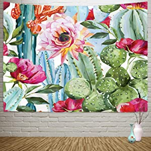 """Sylfairy Cactus Tapestry Wall Hanging Floral Tapestries Watercolor Landscape Plant Printed Tapestry Psychedelic Tapestry Bohemian Hippie Tapestry Indian Wall Art for Room(82"""" X 59"""",Cactus-B)"""