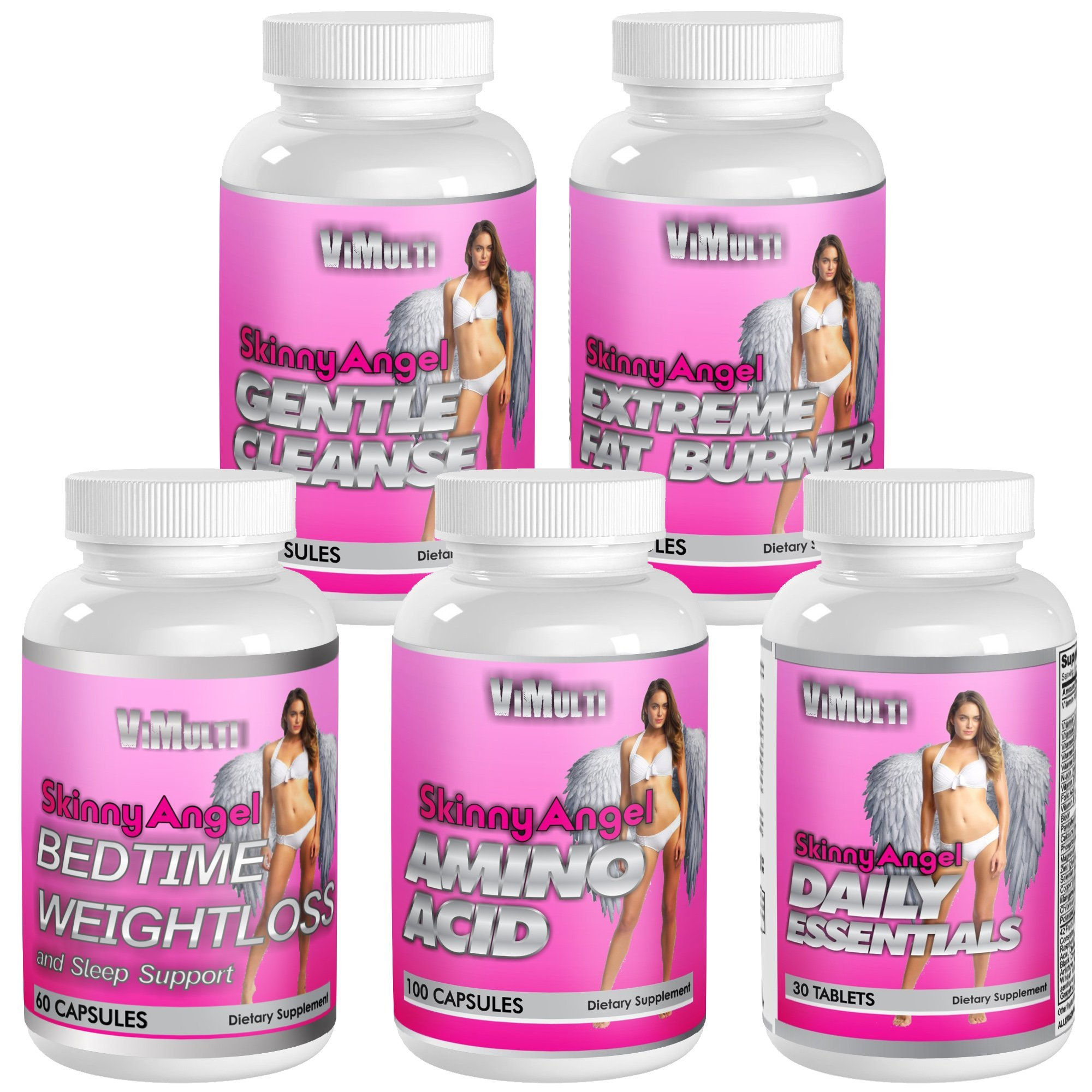 Skinny Angel WEIGHT LOSS PROGRAM with Fat Burner for Women, Night Time Fat Burner, Women's Amino Acid, Women's Multivitamin and Cleanse Supplement. BURN FAT DAY AND NIGHT