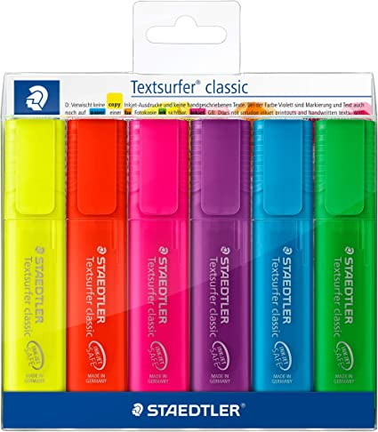 Colores del arco iris clásicos Staedtler TEXTSURFER 364 P WP6 Color soriert Pack de 6 rotuladores en suave caja de plástico: Amazon.es: Oficina y papelería