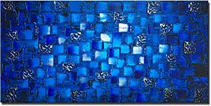 Thick Textured Abstract Squares Canvas Wall Art Hand Painted Artwork Modern Dark Blue add Silver Oil Painting for Home Decor Framed Ready to Hang 48x24inch