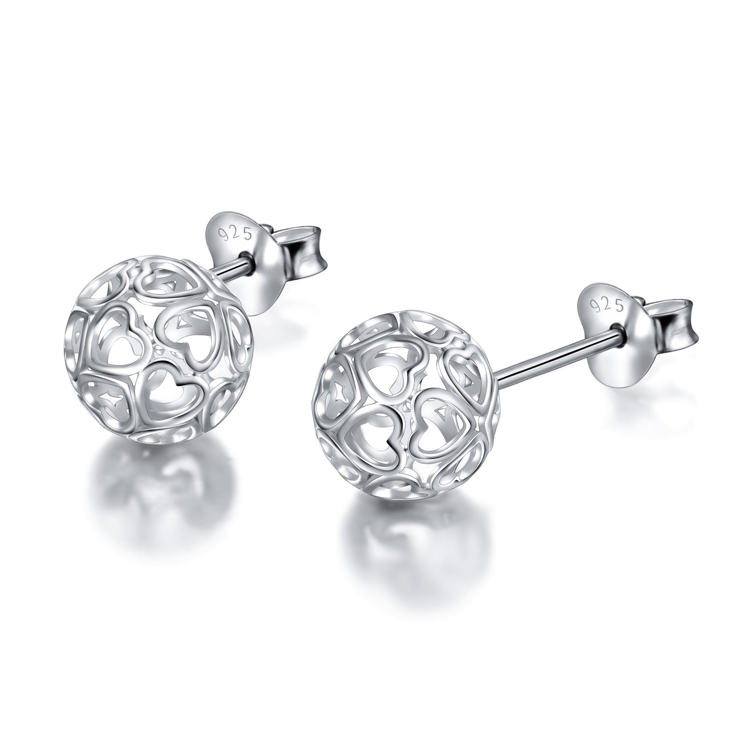 S9S925 Sterling Silver Heart Round Ball Stud Heart Earrings for Women Girl Mother