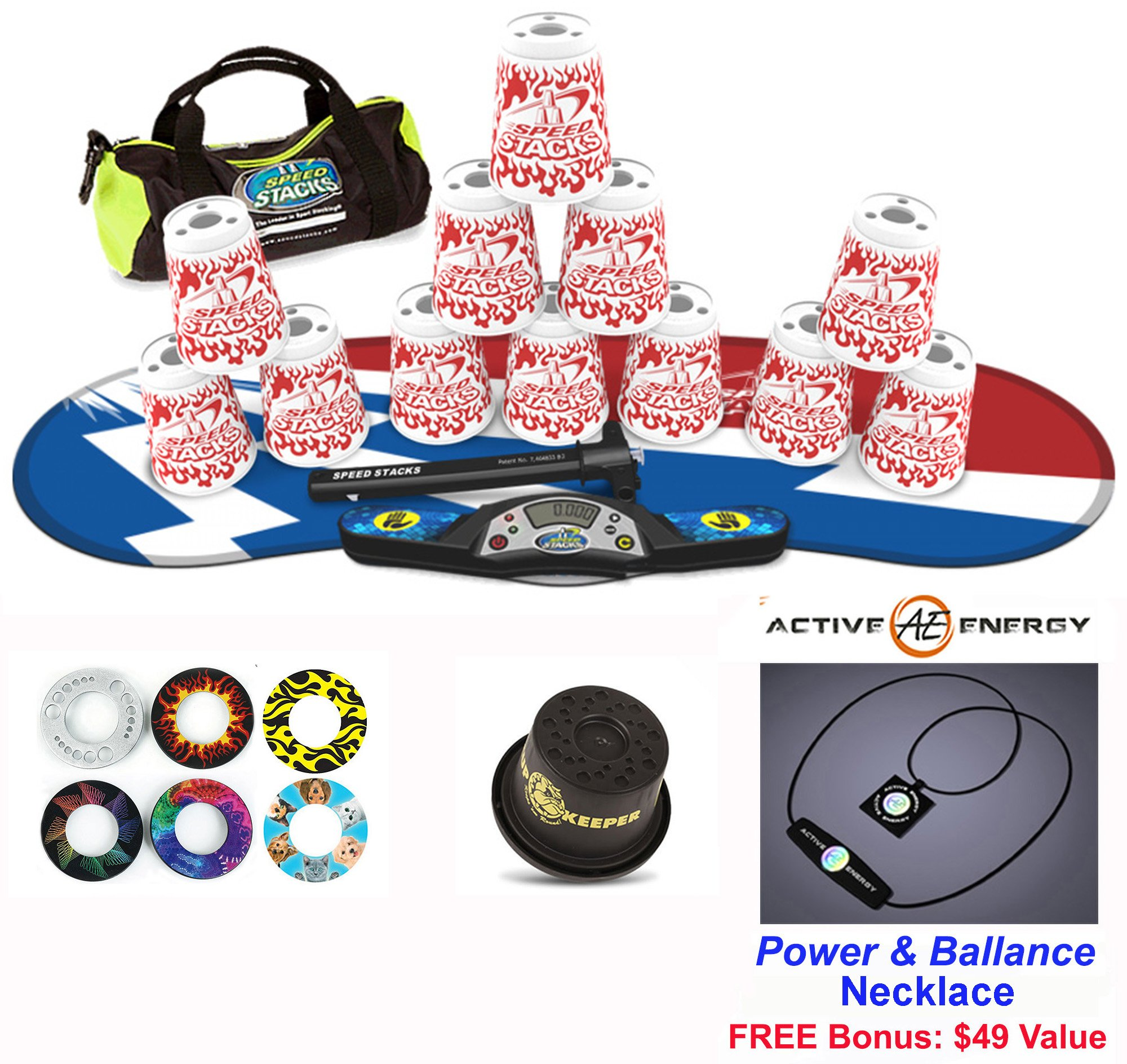 Speed Stacks Combo Set 'The Works'': 12 WHITE FLAME 4'' Cups, Atomic Punch Gen 3 Mat, G4 Pro Timer, Cup Keeper, Stem, Gear Bag + Active Energy Necklace by Speed Stacks