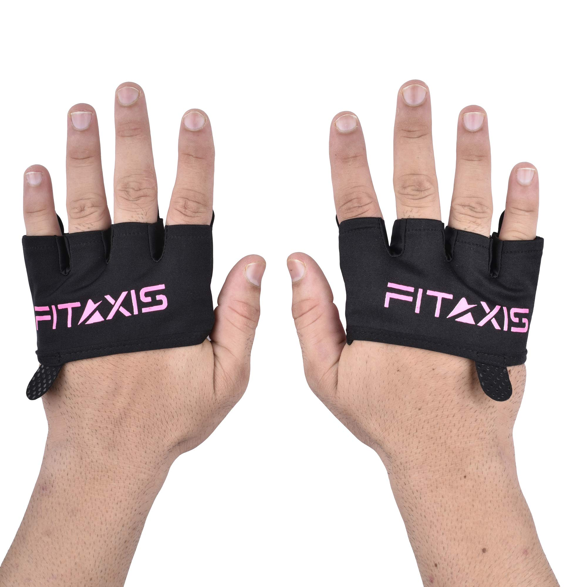 FITAXIS Crossfit Gloves -for Gymnastic, Cross Training,Calisthenics,Fitness,Barbell,Deadlifit (BLK/Pink, L)
