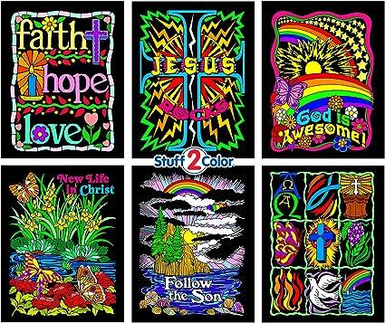 Stuff2Color Faith Bundle - Includes 6 Fuzzy Velvet Coloring Posters