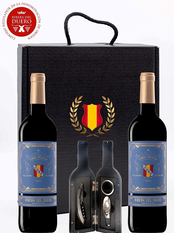 Caja Regalo Vino Tinto - Pack de 2 Botellas Ribera del Duero D.Origen Cune + Kit Accesorios con Abrecorchos Aireador y Anillo Antigoteo con estuche – Tematica España - Ideal para regalar.