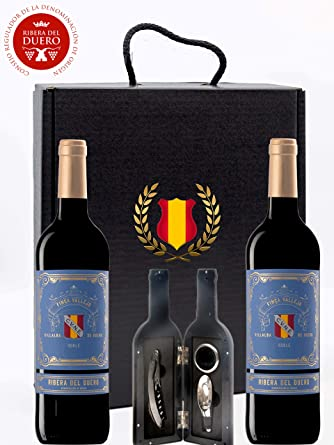 Caja Regalo Vino Tinto - Pack de 2 Botellas Ribera del Duero D.Origen Cune + Kit Accesorios con Abrecorchos Aireador y Anillo Antigoteo con estuche – Tematica España - Ideal para regalar.: