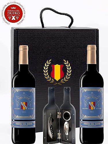 Caja Regalo Vino Tinto - Pack de 2 Botellas Ribera del Duero D.Origen Cune + Kit Accesorios con Abrecorchos Aireador y Anillo Antigoteo con estuche – ...