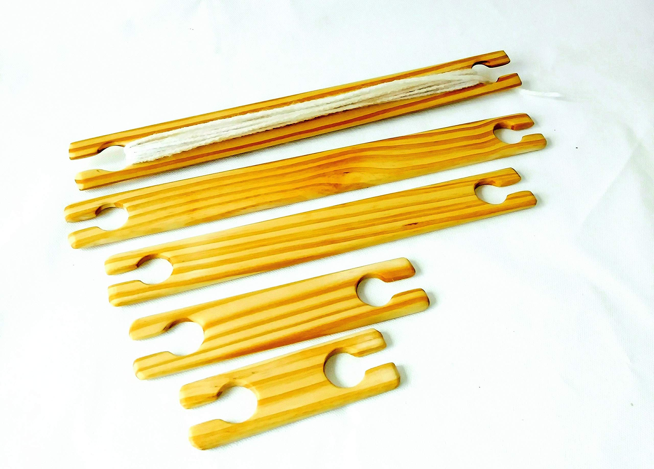5 Variety sizes Stick Shuttles 4,6,8,10 and 12 inch weaving stick shuttles.