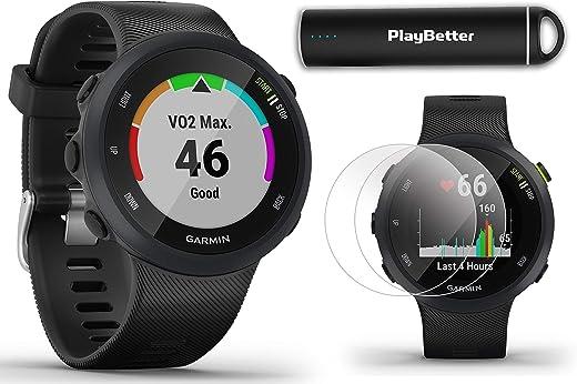 Garmin Forerunner 45 (Black) Running GPS Watch Power Bundle | +HD Screen Protectors & PlayBetter Portable Charger | Garmin Coach, Lightweight, Heart Rate, Body Battery, Smart Notifications