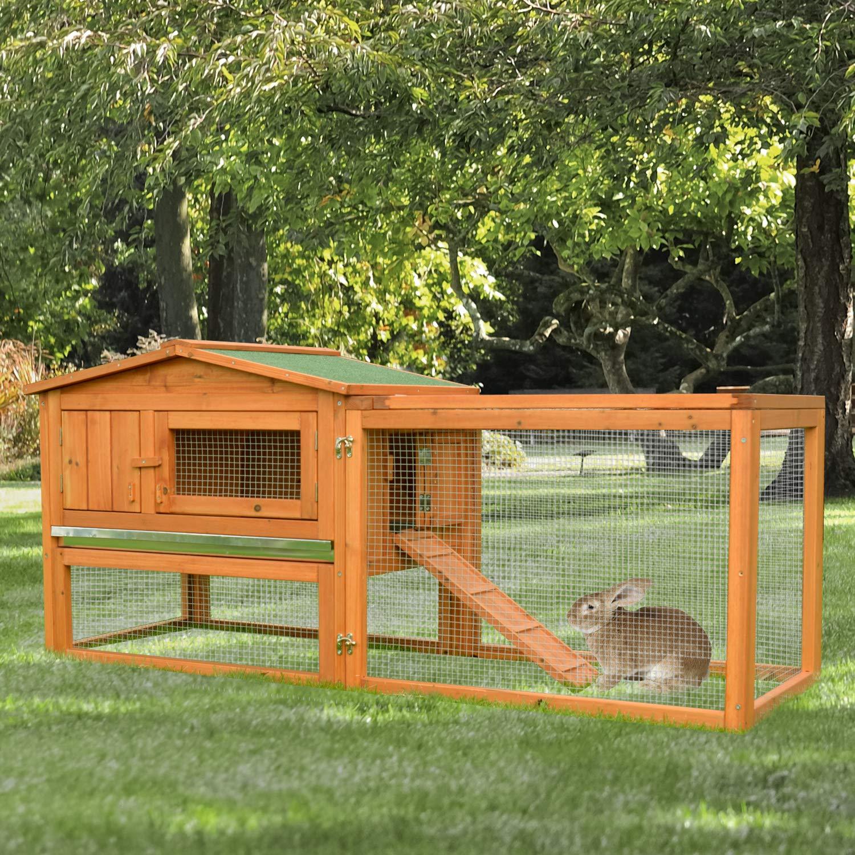 PawHut 62 Outdoor Guinea Pig Pet House//Rabbit Hutch Habitat with Run