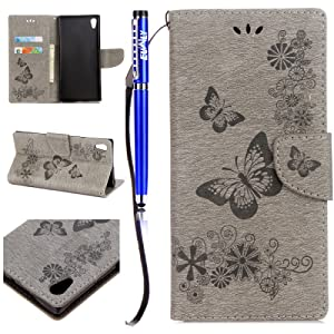 FESELE Coque pour Sony Xperia XA1 Cuir Portefeuille, PU Wallet Flip en cuir [Béquille Feature] Housse, motif fleur papillon en cuir PU Support Fonction Cases Housses de protection avec support de fente pour carte Wallet Design Book détachable Dragonne pour Sony Xperia XA1 + 1 x Stylus Bleu pen- Gris