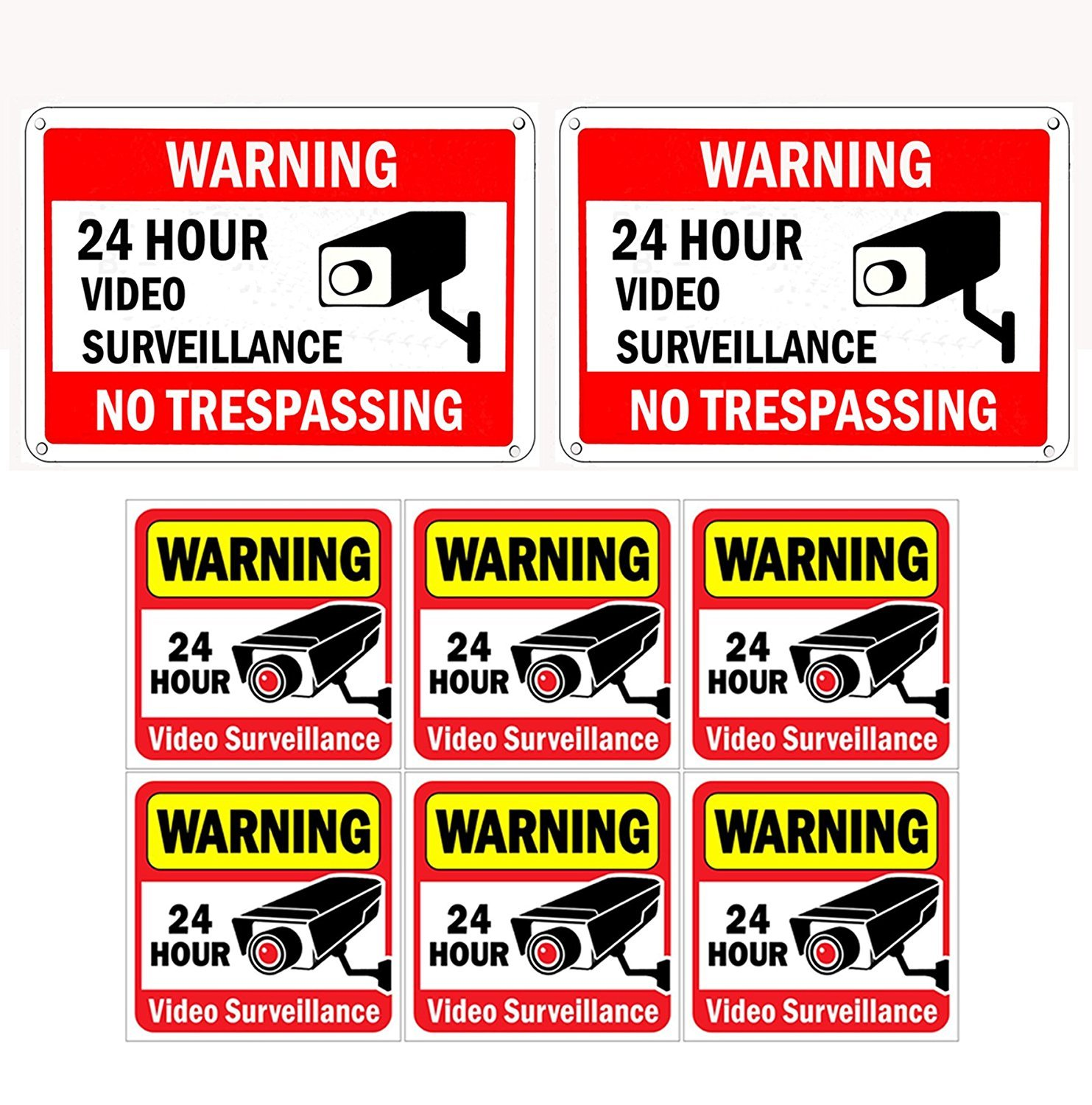 WISLIFE Video Surveillance Sign Set, 2 (10'' X 7'') Aluminum Warning Signs & 6 (6''X6'') Window Stickers, Video Security Signs by WISLIFE
