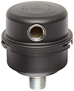 "Solberg FS-06-050 Inlet Compressor AirFilter Silencer, 1/2"" MPT Outlet, 3-13/16"" Height, 3-1/4"" Diameter, 12 SCFM, Made in the USA"