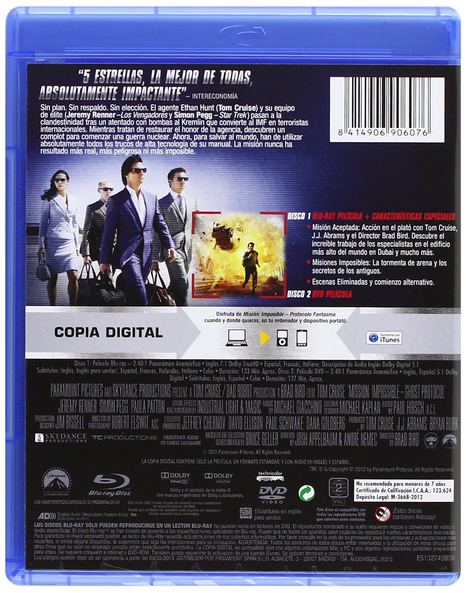 Amazon.com: Mision Imposible 4 (Bd Combo + Dvd + Copia Digital) (Blu-Ray) (Import Movie) (European Format - Zone B2) (2012: Movies & TV