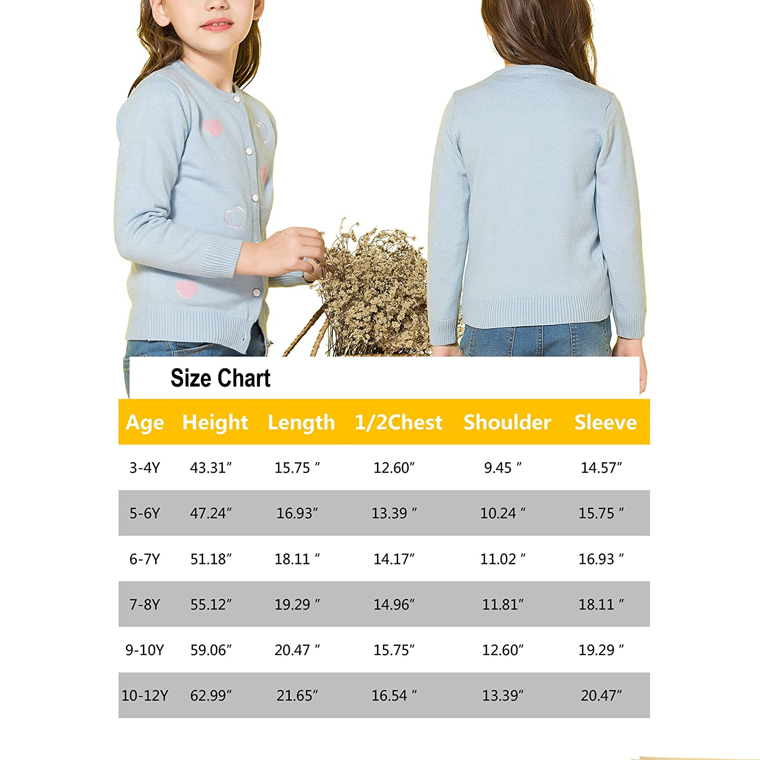 Junchio Girls Knitted Cotton Sweater Long Sleeve Cardigan