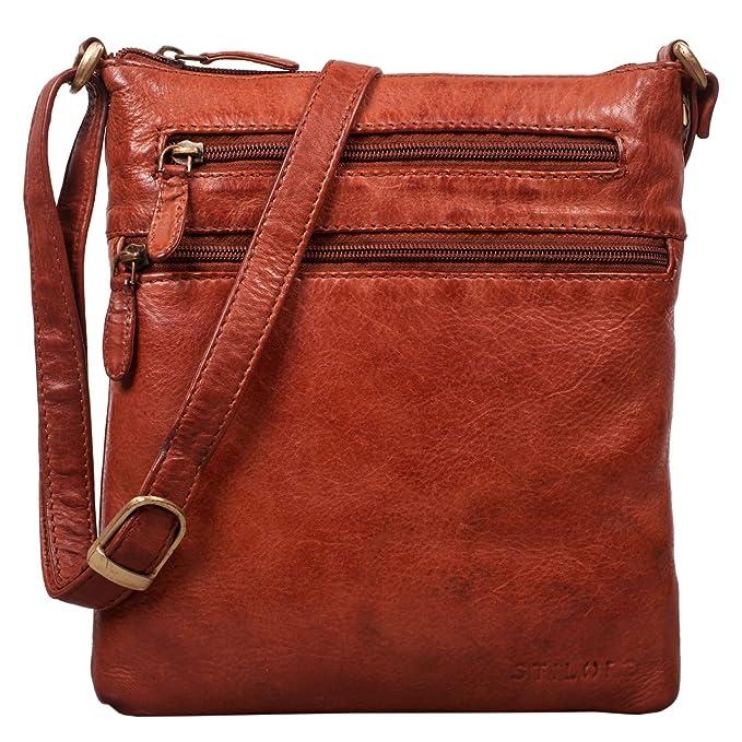 e906ffe46289e STILORD  Juna  Damen Umhängetasche Leder braun Handtasche kleine  Schultertasche Vintage Damentasche Ausgehtasche für Freizeit