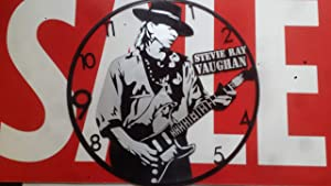 DIY Stevie RAY Vaughan Silver Edition Decorative Designed Modern Vinyl Record Wall Clock Silent Large New Bedroom Livingroom Office Decore Universal Decorate Home Best Gift for Friend Music Lovers