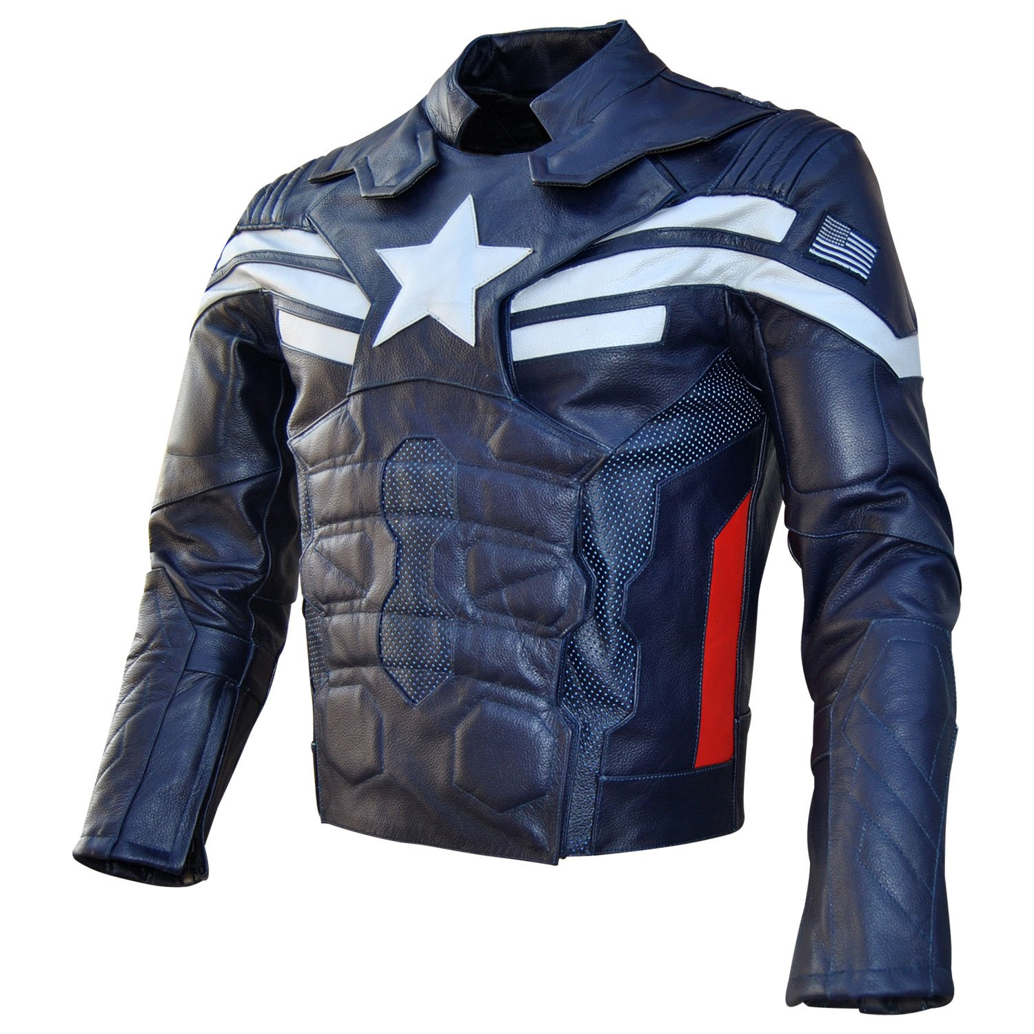 Men's Captain America: Winter Soldier Real Blue Leather Jacket - DeluxeAdultCostumes.com
