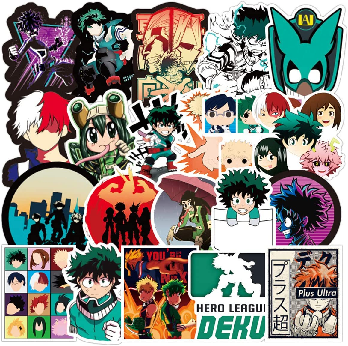 Acekar My Hero Academia Stickers[100pcs] Waterproof for Decal Laptop Hydro Flask Water Bottle Car Cup Computer Guitar Skateboard Luggage Bike Bumper, Kid Gift (Hero Academia100Pcs)