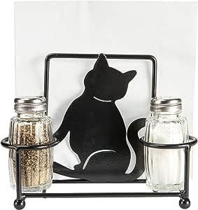 Servilletero de gato con salero y pimentero de cristal, decoración ...