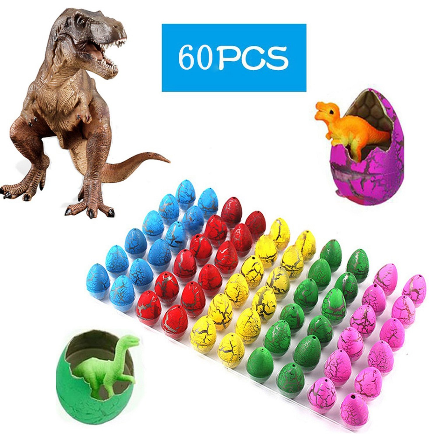 60 Pcs Novelty Hatching Dinosaur Toys , Hatch and Grow Easter Dinosaur Eggs that Hatch in Water for Kids Party Supplies by Yanxi7