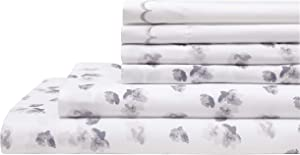 Elite Home Products Inc. Spring Meadow Microfiber Print Embroidered Bed Sheet Set, Gray, King