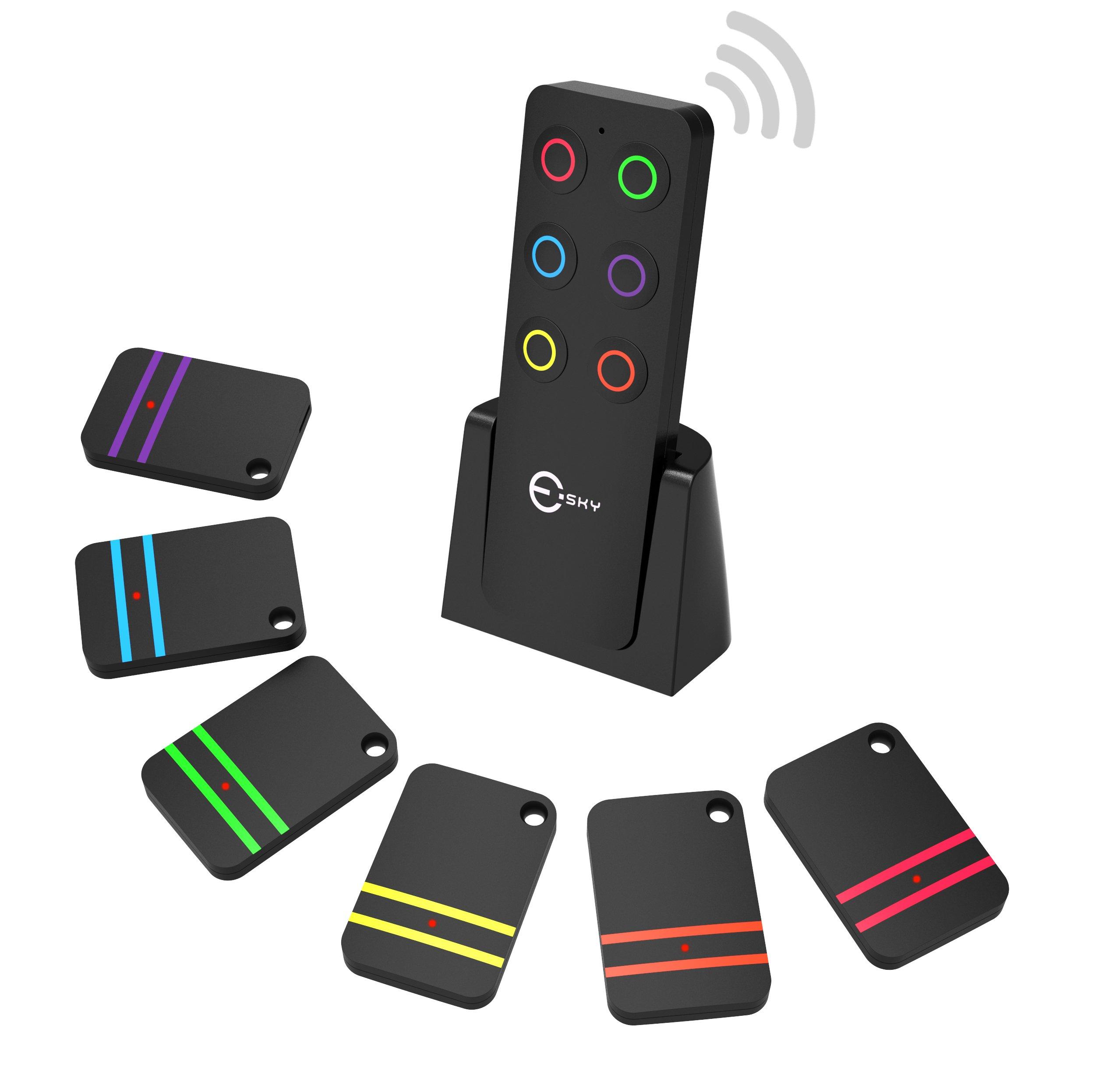Key Finder, Esky Wireless RF Item Locator Item Tracker Support Remote Control,1 RF Transmitter and 6 Receivers - Wireless Key RF Locator, Pet Tracker Wallet Tracker by Esky