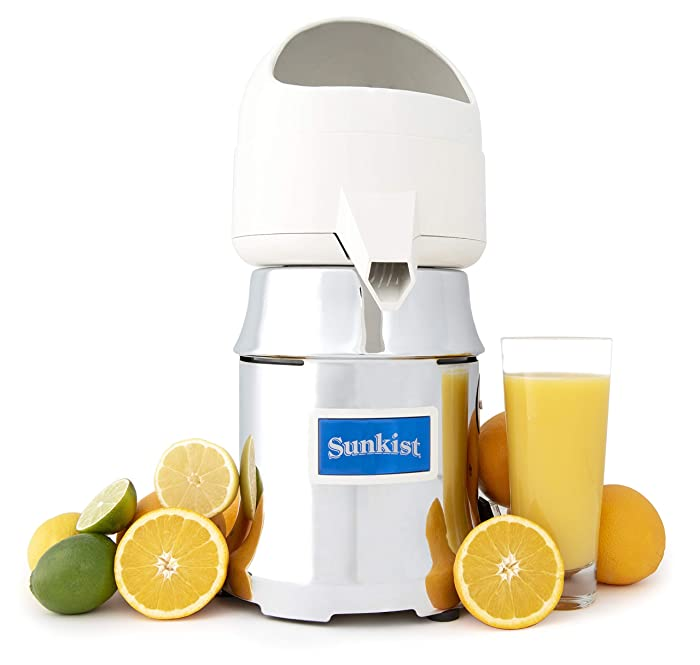 Sunkist Growers J-1 Commercial Juicer | Citrus Press | Electric Juice Extractor | Chrome | Includes 3 Interchangeable Extracting Bulbs | 20 Gallon Per Hour Ability | 31 Pounds