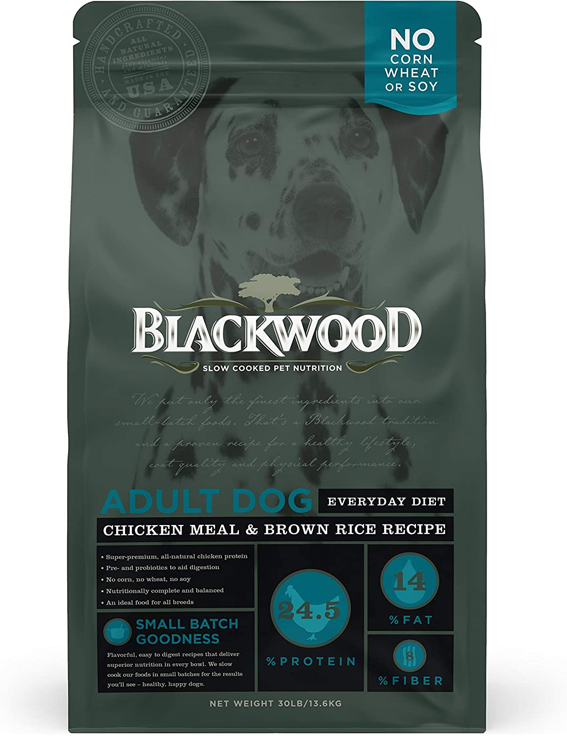Blackwood Pet Food 075492300228 Chicken Meal & Rice Recipe Everyday Diet Adult Dry Dog Food, 30Lbs (22290)