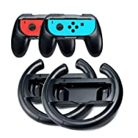 Switch Games Joycon Grip Handle Kits for Nintendo Switch Joy-Con Controllers, Lammcou Ergonomic Two Pair Joy Con Comfort Hand Grips Mario Racing Steering Wheel Holder for 1-2 Switch Game Zelda Super Mario Odyssey, FIFA 18, Fast RMX (4 Pack Black)