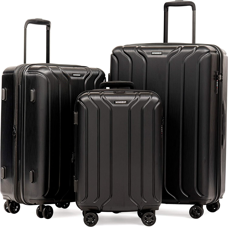 NONSTOP To New York Juego de Equipaje de 3 Piezas con candado TSA y Doble Puerto USB